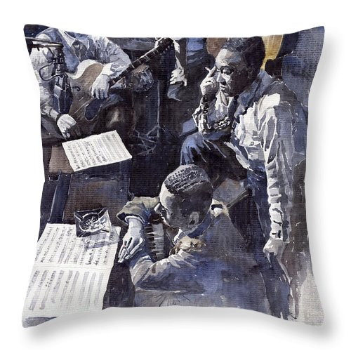 Jazz Throw Pillow featuring the painting Jazz Parker Tristano Bauer Safransky RCA studio NY 1949 by Yuriy Shevchuk