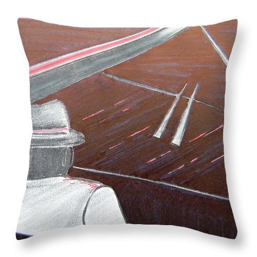 Jazz Throw Pillow featuring the painting Jazz Pianist At The Brigantine Room by Marwan George Khoury