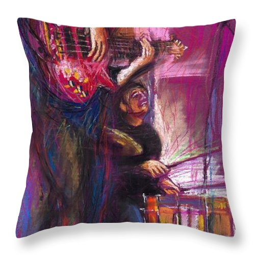 Jazz Throw Pillow featuring the painting Jazz Purple Duet by Yuriy Shevchuk