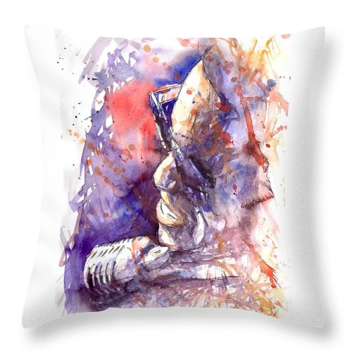 Portret Throw Pillow featuring the painting Jazz Ray Charles by Yuriy Shevchuk
