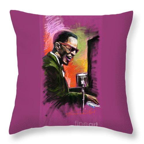 Throw Pillow featuring the painting Jazz. Ray Charles.2. by Yuriy Shevchuk