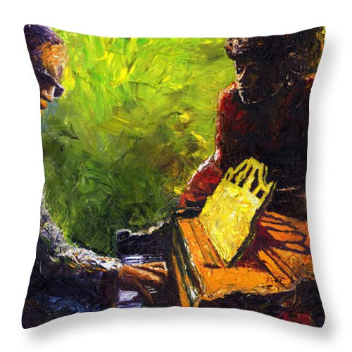 Jazz Throw Pillow featuring the painting Jazz Ray Duet by Yuriy Shevchuk