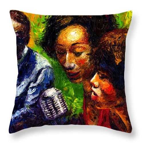 Jazz Throw Pillow featuring the painting Jazz Ray Song by Yuriy Shevchuk