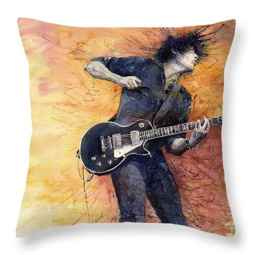 Figurativ Throw Pillow featuring the painting Jazz Rock Guitarist Stone Temple Pilots by Yuriy Shevchuk