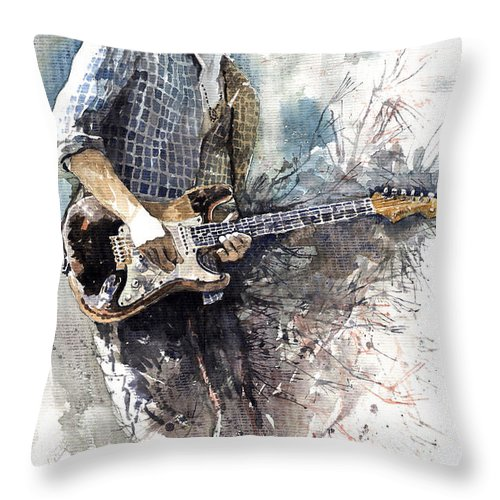 Jazz Throw Pillow featuring the painting Jazz Rock John Mayer 05 by Yuriy Shevchuk