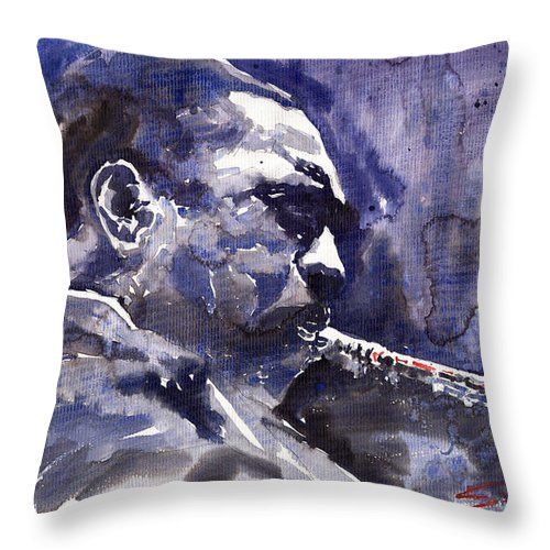 Jazz Throw Pillow featuring the painting Jazz Saxophonist John Coltrane 01 by Yuriy Shevchuk