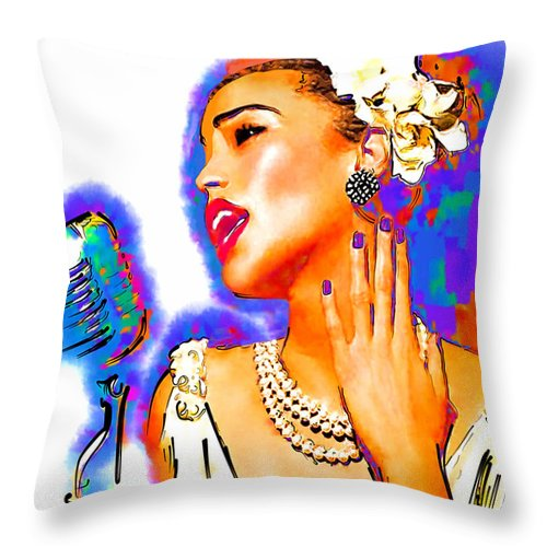Musician Throw Pillow featuring the drawing Holiday by Philip Gresham