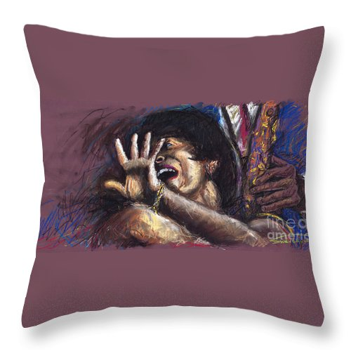 Jazz Throw Pillow featuring the painting Jazz Song 1 by Yuriy Shevchuk