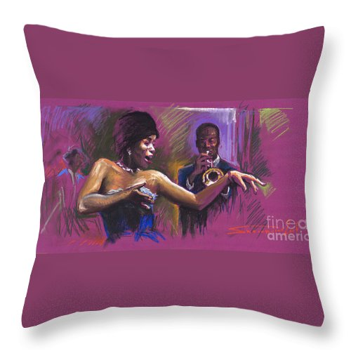 Jazz Throw Pillow featuring the painting Jazz Song.2. by Yuriy Shevchuk