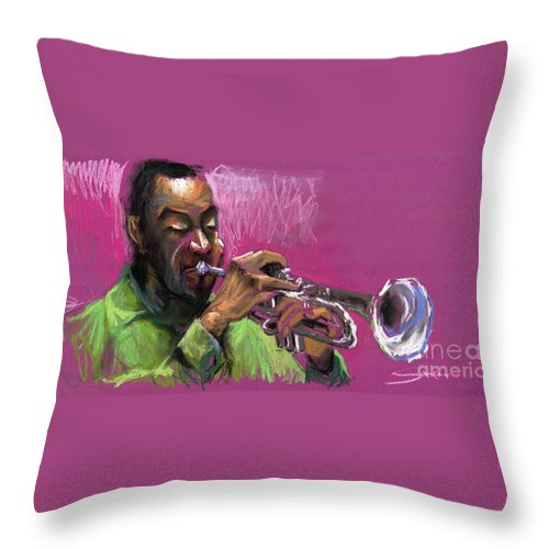 Jazz Throw Pillow featuring the painting Jazz Trumpeter by Yuriy Shevchuk