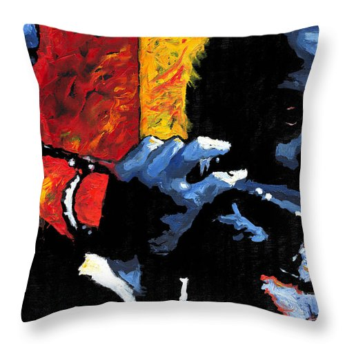 Jazz Throw Pillow featuring the painting Jazz Trumpeters by Yuriy Shevchuk