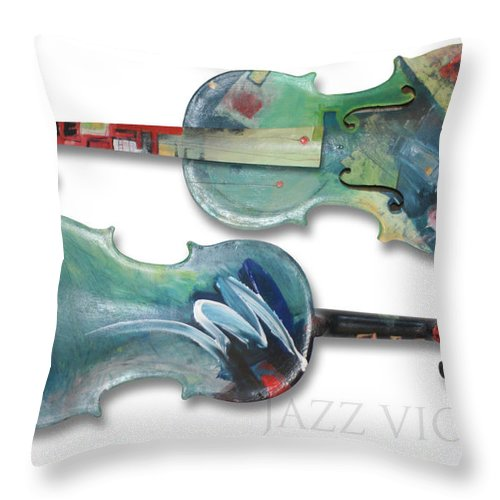 Violin Throw Pillow featuring the painting Jazz Violin - Poster by Tim Nyberg