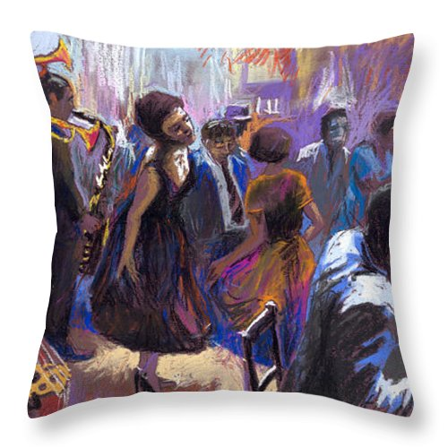 Jazz.pastel Throw Pillow featuring the painting Jazz by Yuriy Shevchuk