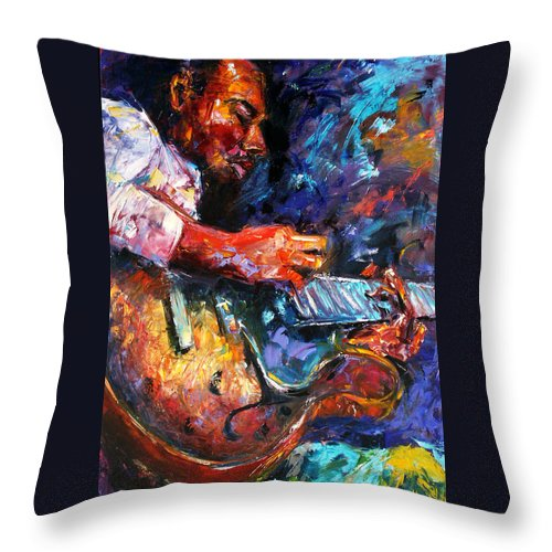 Guitar Throw Pillow featuring the painting Jazzy Guitar by Debra Hurd