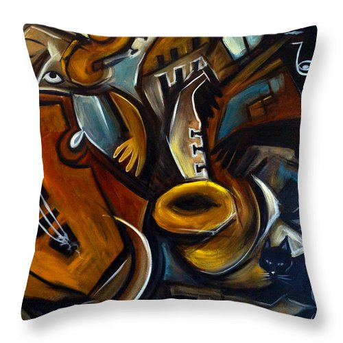 Jazz Throw Pillow featuring the painting Black Cat Jazzz by Valerie Vescovi