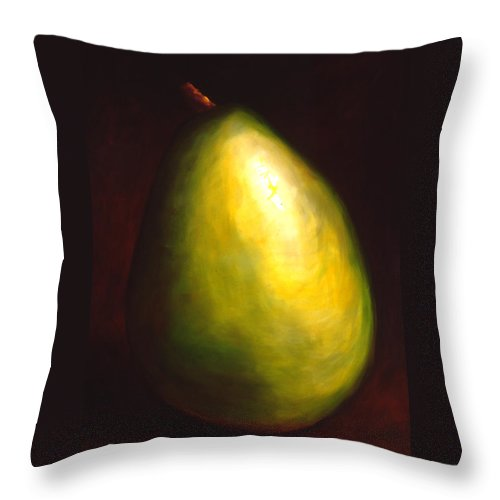 Pear Throw Pillow featuring the painting Jeana by Shannon Grissom
