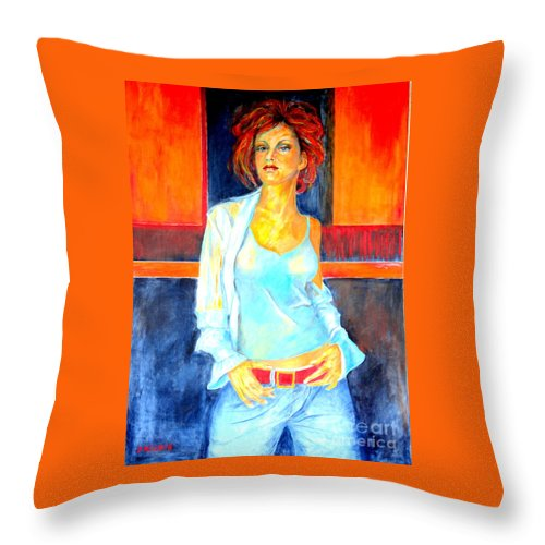Oilpainting Throw Pillow featuring the painting Jeans by Dagmar Helbig