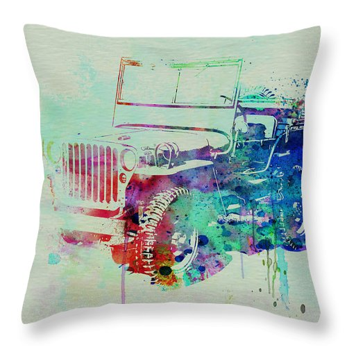 Willis Throw Pillow featuring the painting Jeep Willis by Naxart Studio