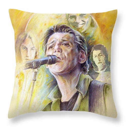 Jeff Christie Throw Pillow featuring the painting Jeff Christie by Miki De Goodaboom