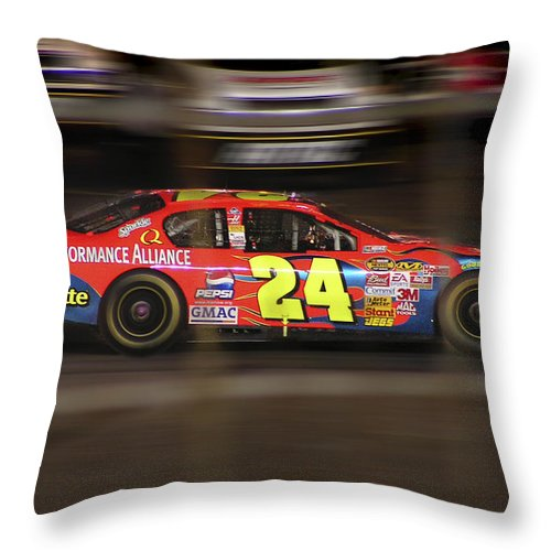 Jeff Gordon Throw Pillow featuring the photograph Jeff Gordons Cup Car by Kenneth Krolikowski