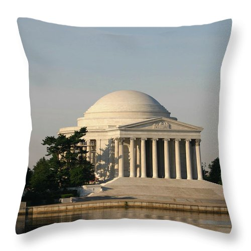 Throw Pillow featuring the photograph Jefferson Memorial by Darren Edwards
