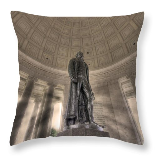 Sold Throw Pillow featuring the photograph Jefferson Memorial by Shelley Neff