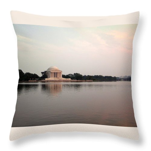 Jefferson Throw Pillow featuring the photograph Jefferson Monument Across The Bay by Douglas Barnett