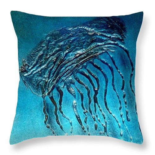 Ocean Throw Pillow featuring the painting Jelly Fish Detail by Rick Silas