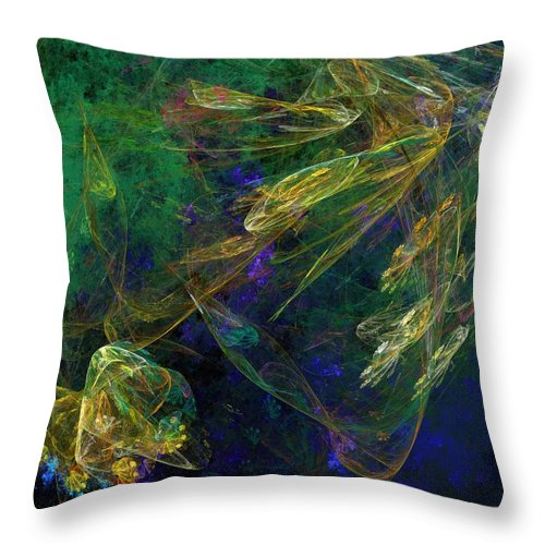 Fantasy Throw Pillow featuring the digital art Jelly Fish Diving The Reef Series 1 by David Lane