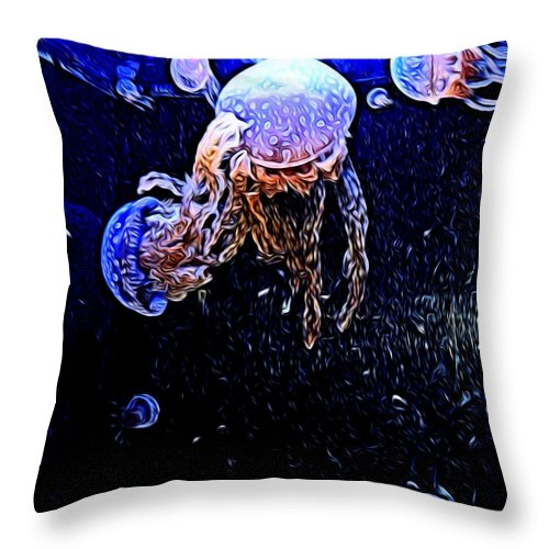 Jelly Fish Throw Pillow featuring the photograph Jellyfish Action by Kristalin Davis
