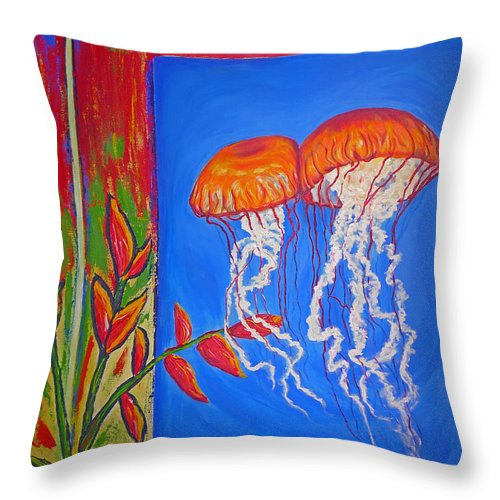 Jellyfish Throw Pillow featuring the painting Jellyfish With Flowers by Ericka Herazo