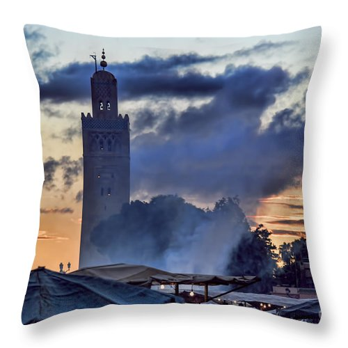 Morocco Throw Pillow featuring the photograph Jemaa El Fna Square by Chuck Kuhn
