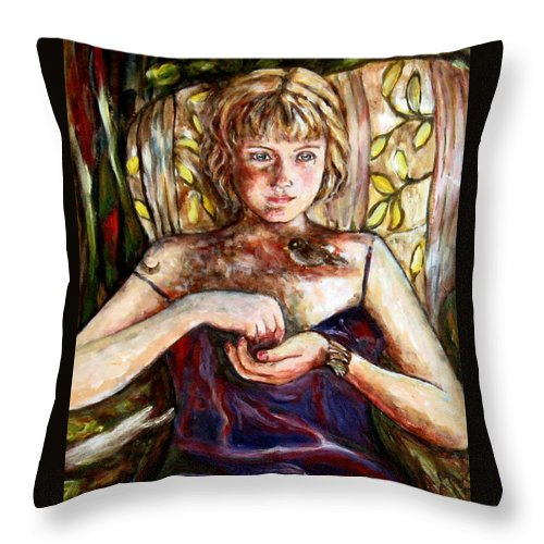Morning Light Throw Pillow featuring the painting Girl And Bird Painting by Frances Gillotti