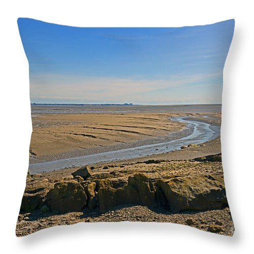 Morecambe Bay. Jenny Brown's Point Throw Pillow featuring the photograph Jenny Brown's Point. by Stan Pritchard