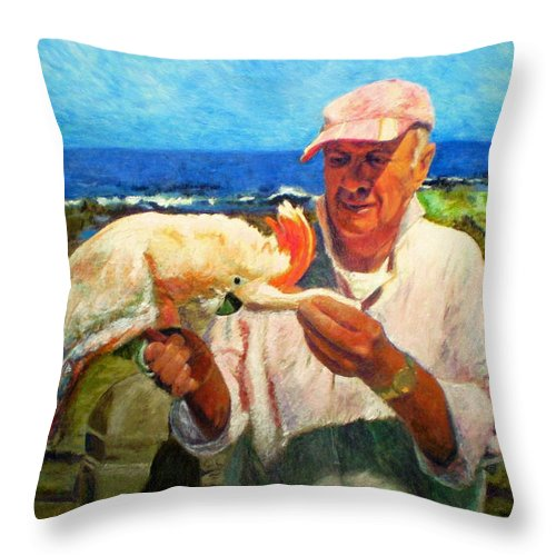 Bird Throw Pillow featuring the painting Jergens And Honey by Michael Durst