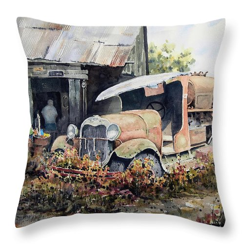 Truck Throw Pillow featuring the painting Jeromes Tank Truck by Sam Sidders