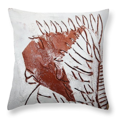 Jesus Throw Pillow featuring the ceramic art Jerry - Tile by Gloria Ssali
