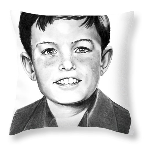 Portrait Throw Pillow featuring the drawing Jerry Mathers-as The Beaver-murphy Elliott by Murphy Elliott