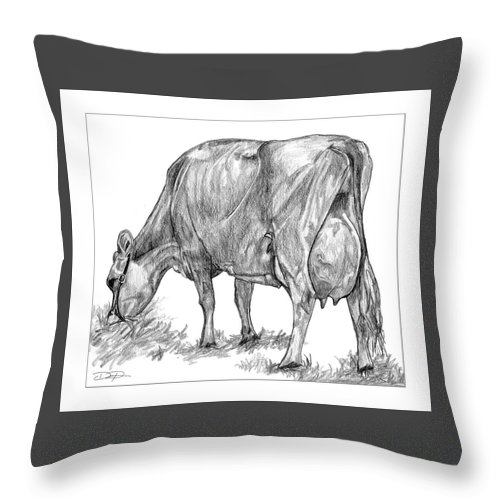 Jersey Milking Cow Throw Pillow featuring the drawing Jersey Milking Cow by Dan Pearce