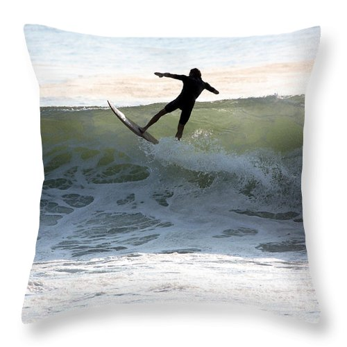 Ocean Throw Pillow featuring the photograph Jersey Surfing by Mary Haber
