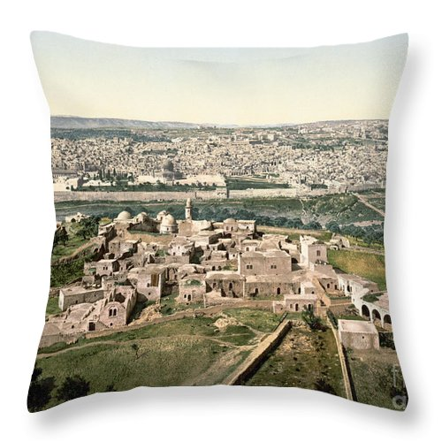 1900 Throw Pillow featuring the photograph Jerusalem, C1900 by Granger