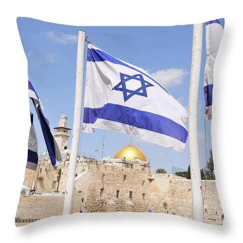 Jerusalem Throw Pillow featuring the photograph Jerusalem Wailing Wall by Ohad Shahar