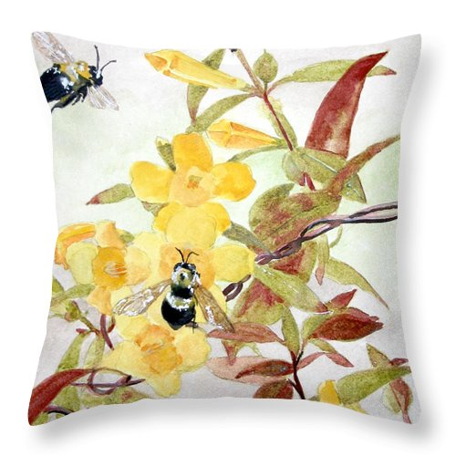 Jasmine Throw Pillow featuring the painting Jessamine Bee Mine by Jean Blackmer