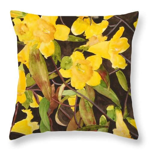 Flowers Throw Pillow featuring the painting Jessamine Jungle by Jean Blackmer