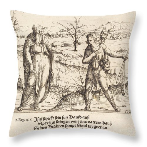 Throw Pillow featuring the drawing Jesse Sends David To His Brothers And Saul by Augustin Hirschvogel