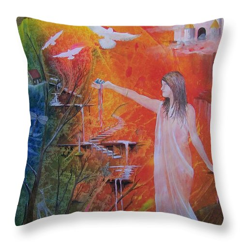Girl Throw Pillow featuring the painting Jesse's Offering by Jackie Mueller-Jones