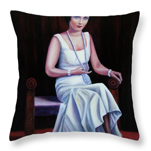 Portrait Throw Pillow featuring the painting Jessie Mckay Lane by Shannon Grissom