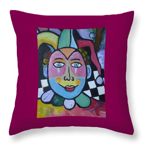 Clown Throw Pillow featuring the painting Jester by H Nuurah Hakima