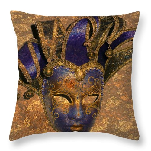 Mask Throw Pillow featuring the photograph Jester's Mask by Lori Seaman