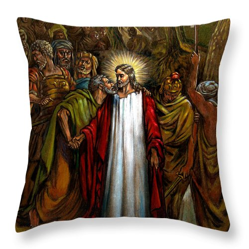 Jesus Throw Pillow featuring the painting Jesus Betrayed by John Lautermilch